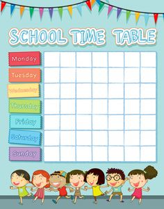 School time table with happy children Free Vector Timetable Template, School Images, School Labels, Happy Children, Vector Photo, Kids Education, Vector Free, Clip Art, Social Media