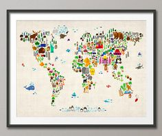 Animal Map of the World Map for children and kids Art by artPause