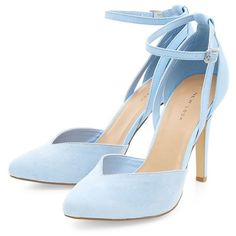 Pale Blue Ankle Strap Pointed Heels found on Polyvore featuring polyvore, women's fashion, shoes, pumps, heels, pointy-toe pumps, ankle wrap pumps, pointed heel shoes, heel pump and pointy shoes