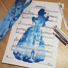 Cinderella] (Drawing by DoughtyCreARTive Disney Sheet Music, Disney Songs, Disney Girls, Disney Love, Disney Stuff, Disney And Dreamworks, Disney Pixar, Walt Disney, Disney Paintings