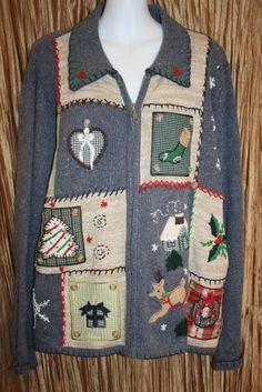 Ugly Christmas Sweater blue Basic Edition tree Cardigan Ladies Large Mens Tacky