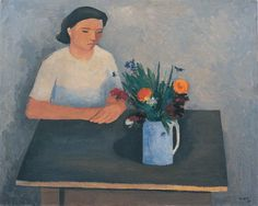 William Scott, [Girl Seated at a Table], 1938, Oil on canvas, 61.2 × 76.9 cm / 24 × 30¼ in, Private collection
