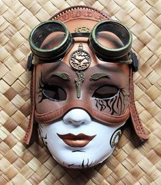 Steampunk Venetian wall mask with detachable steampunk flying goggles