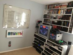 Compact and Efficient retro gaming corner via Reddit user franchy36