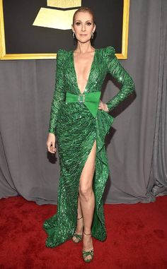 Céline Dion from Grammys 2017 Red Carpet Arrivals  In Zuhair Murad