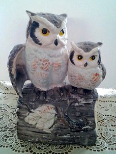 Vintage Owl Music Box Woodland Enesco 1960s by streetcrossing