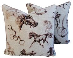 Vintage Mike Seratt of The Prized Pig Scalamandré Equestrian Linen Pillows, Pr