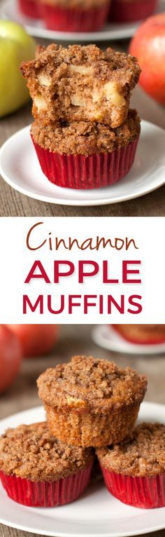 100% Whole Grain Cinnamon Apple Muffins - so moist and flavorful!