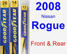 Front & Rear Wiper Blade Pack for 2008 Nissan Rogue - Premium