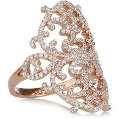 Diane Kordas Arabesque 18-karat rose gold diamond ring found on Polyvore