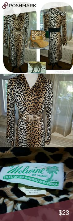 Vintage Leopard shirtdress M-L Closet cleaning it's taking place at home and this beauty is out of mine and hopefully into another great home. I love this dress which definitely dates from the late sixties or early seventies. 16 inches shoulder to shoulder, 18 under arms, 43 inches long approximately, 19 and hips unstretched . Priced to sell. No issues period belt is not original but may be included at this asking price. Vintage Dresses