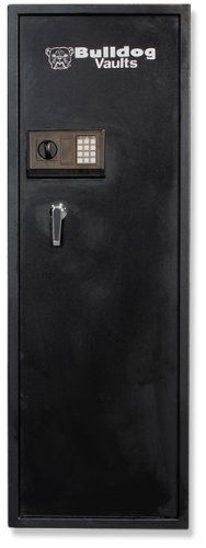"""Bulldog 57 X 19 X 14-Inch Standard 8 Gun Safe with Digital Lock (Black) by Bulldog Vaults. $412.50. 5 1"""" diameter chrome plated locking bolts. Durable """"black matte"""" powder paint finish. Durable, heavy-duty steel construction. Separate locking interior vault for pistols, ammo, and other valuables. Chrome """"L"""" handle. 57"""" x 19"""" x 14"""" Standard 8 Gun Safe  Safety, Security and Peace of Mind. Prevent unauthorized access to your firearms and valuables while protecting them..."""