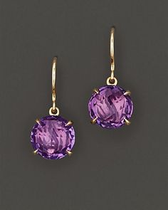 Carelle 18K Yellow Gold and Amethyst Earrings