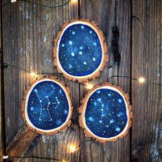 Set of 3 Mini Constellation Wood Slices // by MeganRichardsArt