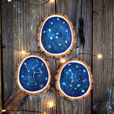 Set of 3 Mini Constellation Wood Slices // Orion // Big Dipper //Cassiopeia // wood slice // home decor // Constellations //space art