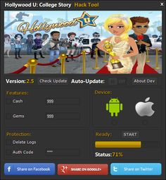 Hollywood U College Story Hack Cheats Tool  Hollywood U College Story Hack is Modhacks.com a new tool, that we all want to present to you. If you ever glimpse at all the other hacks on line, this amazing tool is the most effective. This specific tool was made to be functioning on Android os …