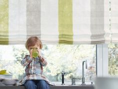 All fabric shades meet ANSI standards for child safety Traditional Interior, Child Safety, Fabric Shades, Window Treatments, Windows, Curtains, Design, Home Decor, Stripes