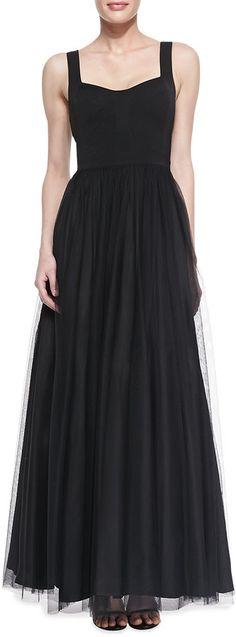 Aidan Mattox Sleeveless Sweetheart Tulle Ball Gown, Black