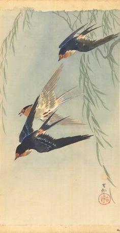 muurdecoratie wanddecoratie schilderij kunst Rijksmuseum drie vliegende vogels Ohara Koson