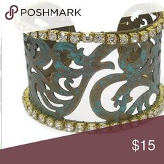 💅🏾Just In💅🏾 Metal filigree and rhinestone edge patina cuff bangle bracelet Size: Th 1 1/2 inches Purchase by 4:00 pm Central Time for same day shipping. Jewelry Bracelets