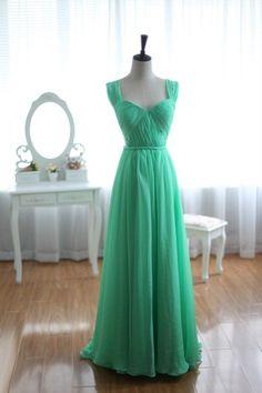 Green Chiffon Bridesmaid Dress Prom Dress Open Back Party Dress