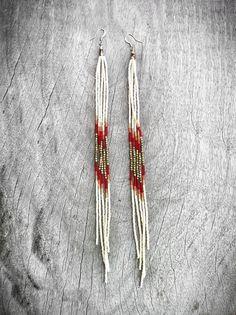 Super Long Beaded Earrings Seed Bead Fringe Earrings in by KadhiBo, $70.00