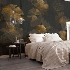Discover recipes, home ideas, style inspiration and other ideas to try. Luxury Wallpaper, Gold Wallpaper, Tapestry Wallpaper, Bedroom Wall, Bedroom Decor, Apartment Living, Living Room, Traditional House, Sweet Home