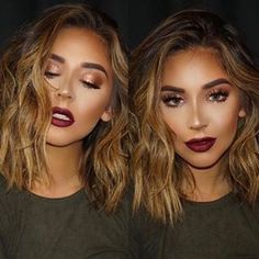 Glowy skin and wine lips More