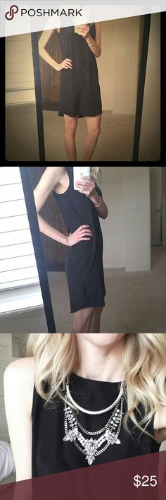 Halogen little black dress This is the perfect work dress that can be transitioned to date night! Butter soft, light fabric! So fun to assessorize. Purchased from nordstrom, in excellent condition! Tag says xxs but would fit xs as well.**necklace not included** Halogen Dresses