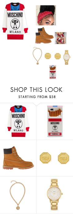 """She Have A Lil Thug In Her😉😈😍"" by foreignasf162000 ❤ liked on Polyvore featuring Moschino, Timberland and Kate Spade"