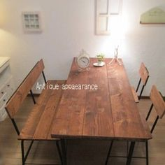 【サイズ約W1500×D700】アンティーク風ダイニングテーブル・鉄脚アイアン