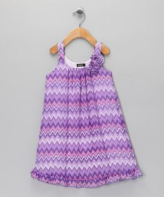 Take a look at this Purple Zigzag Dress - Girls by Zunie & Pinky on #zulily today!