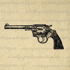 Printable Digital Gun Revolver Graphic Western Image Illustration Download Vintage Clip Art. Vintage printable image illustration from retro artwork for making prints, transfers, t-shirts, tea towels, tote bags, and more. This digital image is high quality, large at 8½ x 11 inches. Transparent background version included with every graphic.