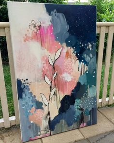 Art Studio Work in progress - an acrylic abstract painting on canvas, using Golden Fluid Acrylics (Toronto, Ontario) Abstract painting inspiration & ideas. Image: artwork by Deniz Altug Inspiration Art, Art Inspo, Kunst Inspo, Art And Illustration, Illustrations, Botanical Art, Painting & Drawing, Painting Tools, Star Painting