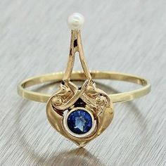 1880s Antique Victorian Estate Women's 14k Yellow Gold Seed Pearl Sapphire Ring