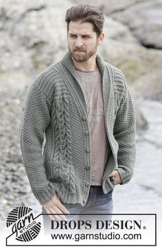 "Finnley / DROPS Extra 0-1132 - Knitted DROPS men's jacket with cables and shawl collar in ""Lima"". Size: S - XXXL."
