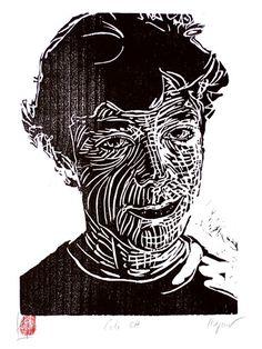 Woodcut portrait of Cole Ott by German born printmaker Dirk Hagner