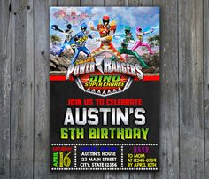 Power Ranger Invitation Power Ranger BirthdayDino by ONOinvitation