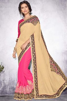 Cream Georgette Party Wear Saree