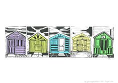 Brightlingsea Beach Huts by Lauren Kelly Lino Print with Chine Colle