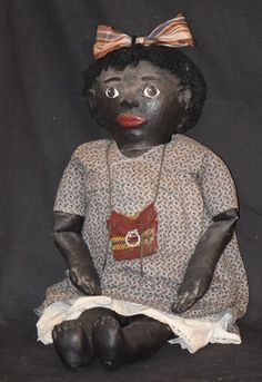 Doll Black Cloth Oil Cloth Rag Doll Americana Folk Art