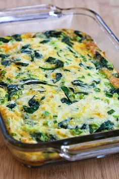Recipe for Spinach and Mozzarella Egg Bake- I made this for dinner tonight and added ham, peppers, and onions, it was super good