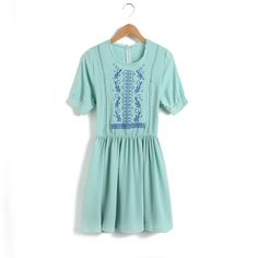 Vintage Floral Embroidery Short Sleeves Dress