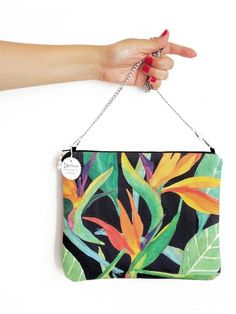 Bolso hecho a mano, diseño pintado con acuarelas. Ave del paraiso.  Handmade bag , painted with watercolors design . Bird of paradise , heliconia.  #flor #flower #bag