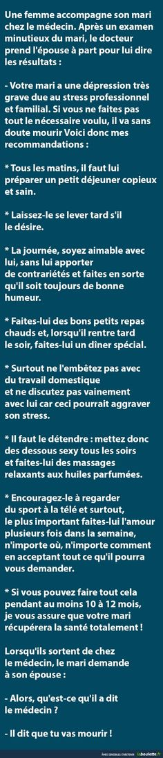 Une femme accompagne son mari chez le médecin... | LABOULETTE.fr - Les meilleures images du net! Fact Quotes, Funny Quotes, Troll Face, Funny Phrases, Lol, Wtf Funny, Funny Posts, Funny Pictures, Jokes