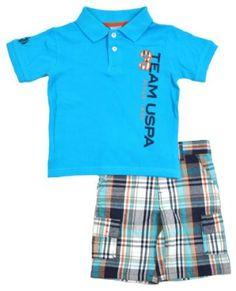 US Polo Assn Infant Boys Aqua Iris & Plaid 2Pc Short Set (24M) U.S. Polo Assn.. $14.99