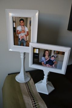 Pictures displayed in style! There are always small inexpensive frames to be had. Paint them and attach to decorative candle sticks, also painted. An excellent idea for bringing interest to a mantle or other narrow space.