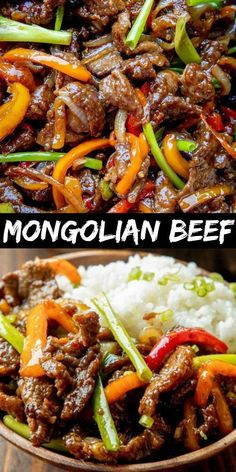 - Delicious Mongolian Beef Recipe is made with juicy beef strips, sauteed bell peppers and onion all coated in a delicious savory sauce. It's best served over hot steamed rice. - Delicious Mongolian Beef Recipe is made with juicy beef strips, sauteed Healthy Beef Recipes, Beef Recipes For Dinner, Ground Beef Recipes, Dinner Ideas With Steak, Recipes With Steak, Crockpot Beef Recipes, Stewing Beef Recipes, Homemade Chinese Food, Sirloin Steak Recipes
