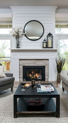 Living Room Design with Corner Fireplace. Living Room Design with Corner Fireplace. Two Storey Ceiling Living Room What I Loved Most About This Farmhouse Fireplace Mantels, Home Fireplace, Fireplace Remodel, Living Room With Fireplace, Fireplace Surrounds, Fireplace Design, Fireplace Ideas, Mantel Ideas, Shiplap Fireplace
