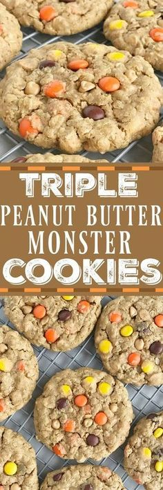 Triple Peanut Butter Monster Cookies. These triple peanut butter monster cookies are a peanut butter lovers dream!   Posted By: DebbieNet.com